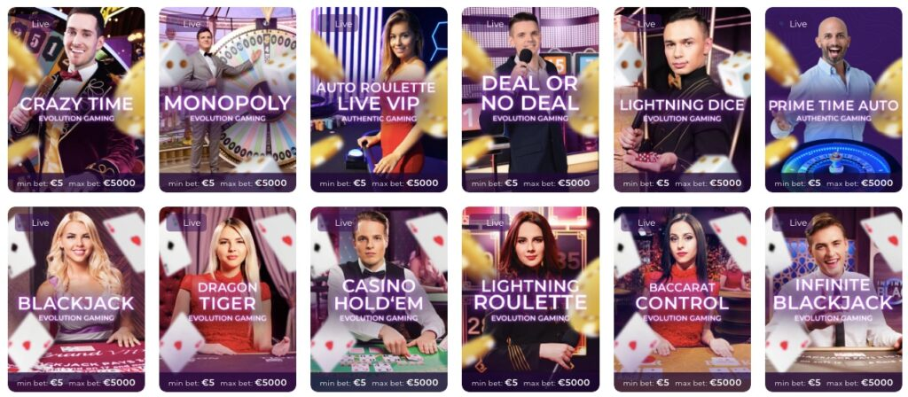 twelve live casino games available at tsars casino