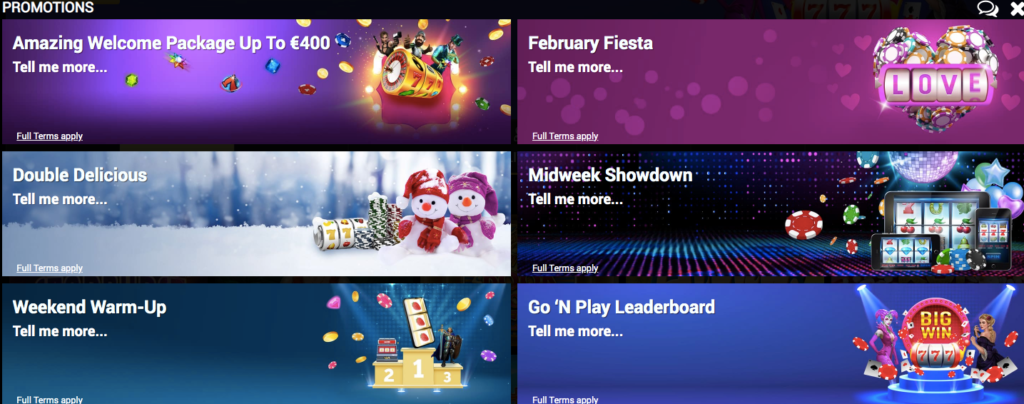 screenshot from mrvegascasino showing available casino promotions