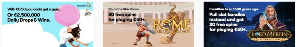 three different casino promotions