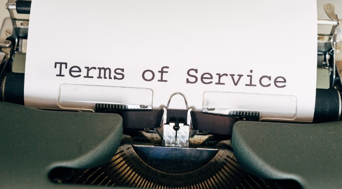 a document saying terms of service