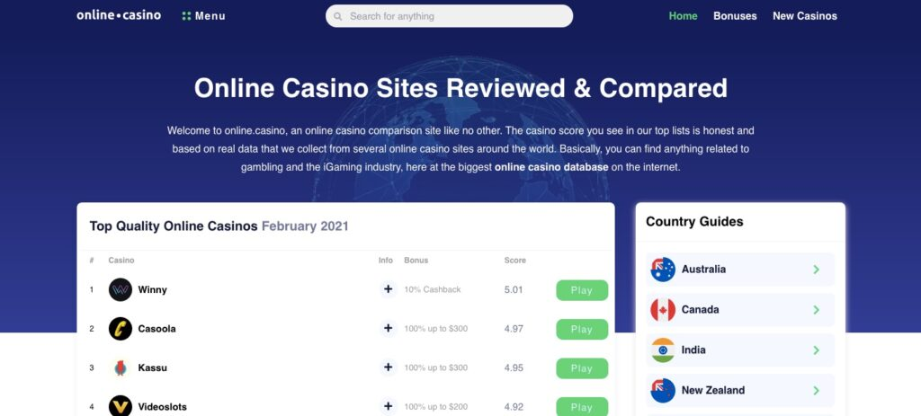 online.casino home page
