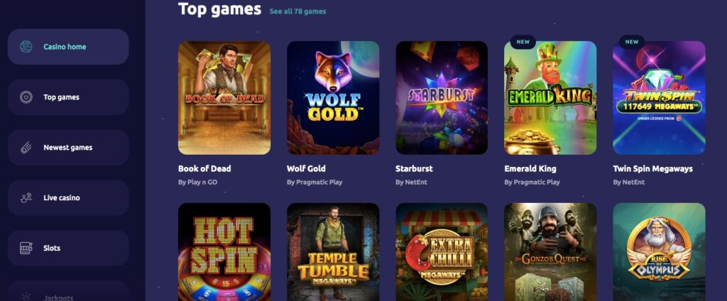 spin away game lobby showing ten popular casino games
