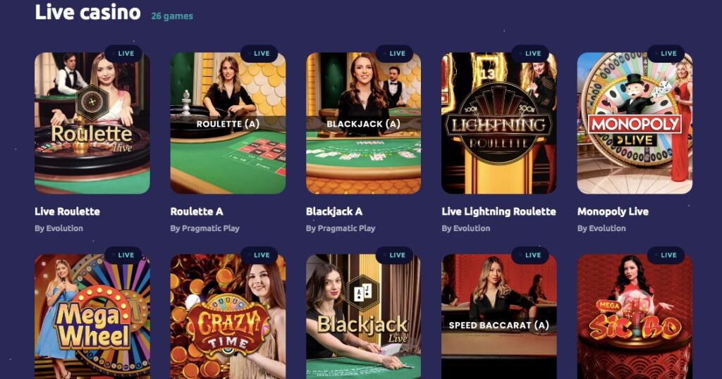ten popular live casino games including roulette crazy time and monopoly live