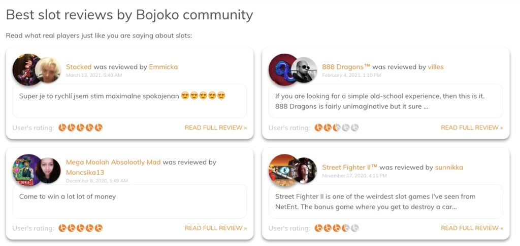 example of four slot reviews from bojoko users