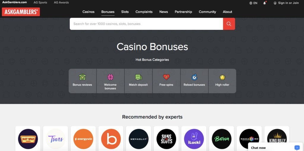 overview of the casino bonus section on askgamblers