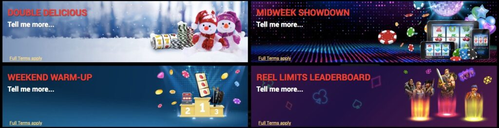 four different casino promotions available at royaltigerbet