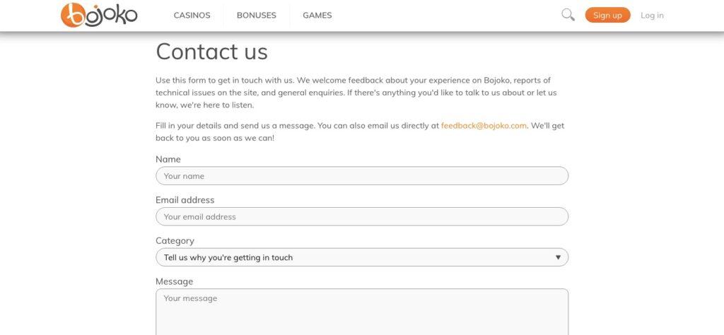 contact form at bojoko casino portal