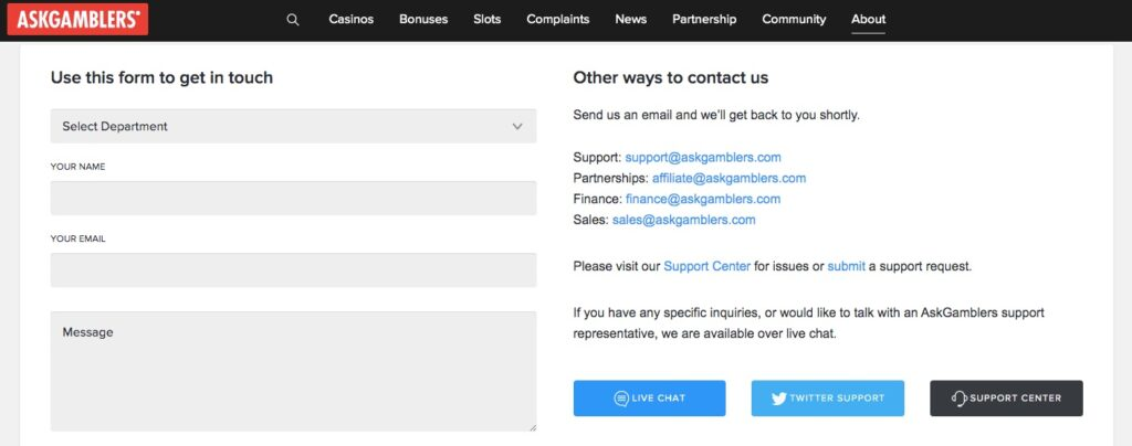 customer support page showing the contact us form