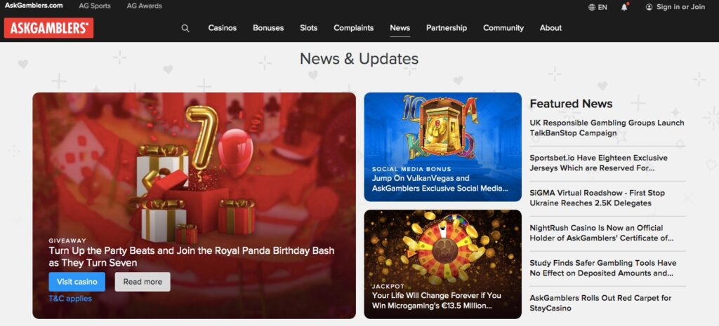 example from the casino news section showing latest news