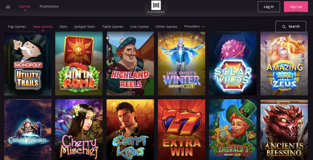game lobby showing twelve casino slot games
