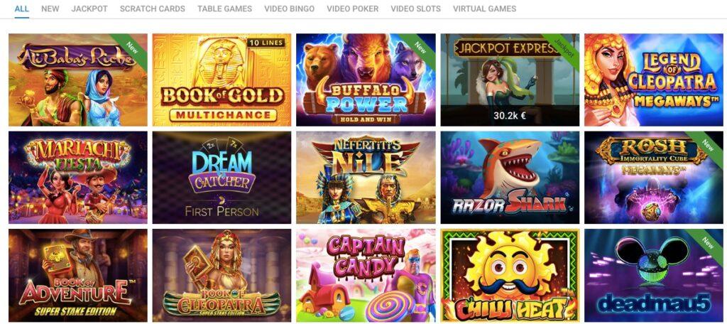 screenshot from the vegaz casino game lobby showing fifteen slot games