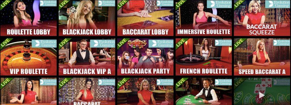 fifteen popular live casino games