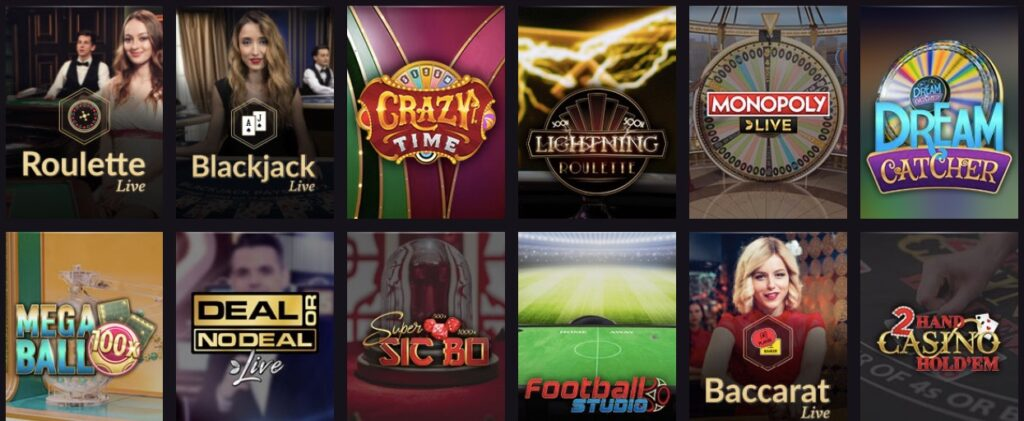 game lobby showing different popular live casino games