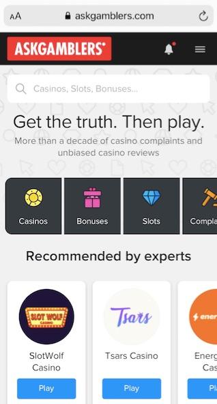 mobile version of the site askgamblers.com