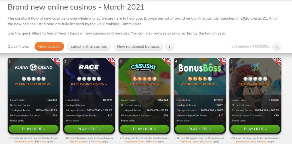 Bojoko new online casino section showing 5 new casinos that are available in the uk market