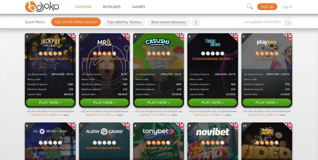 bojoko casino listing showing top 10 online casinos
