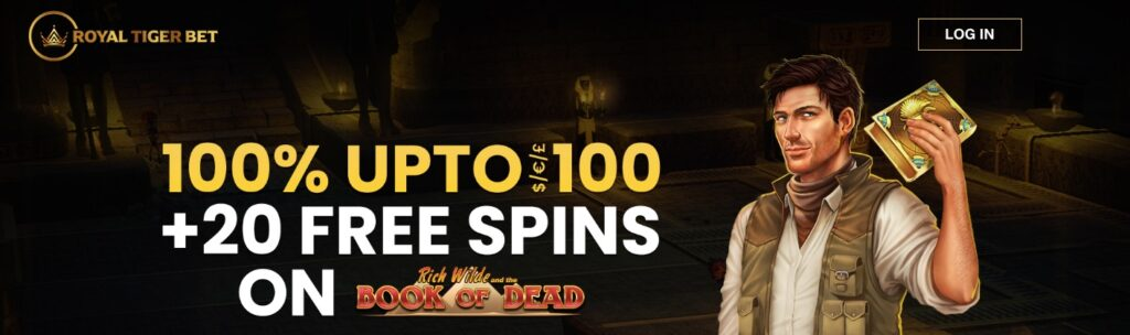 royaltigerbet welcome bonus showing the bonus amount and image from the slot book of dead