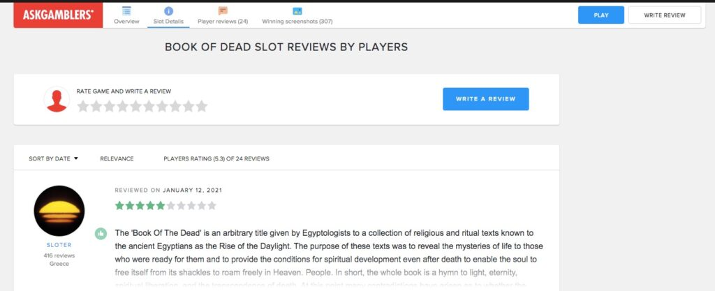 example of a slot review page