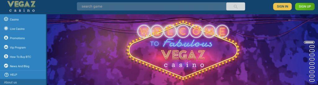 vegaz casino start page