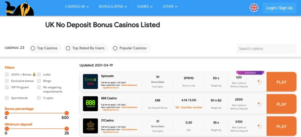 uk online casino bonuses without a deposit needed listed