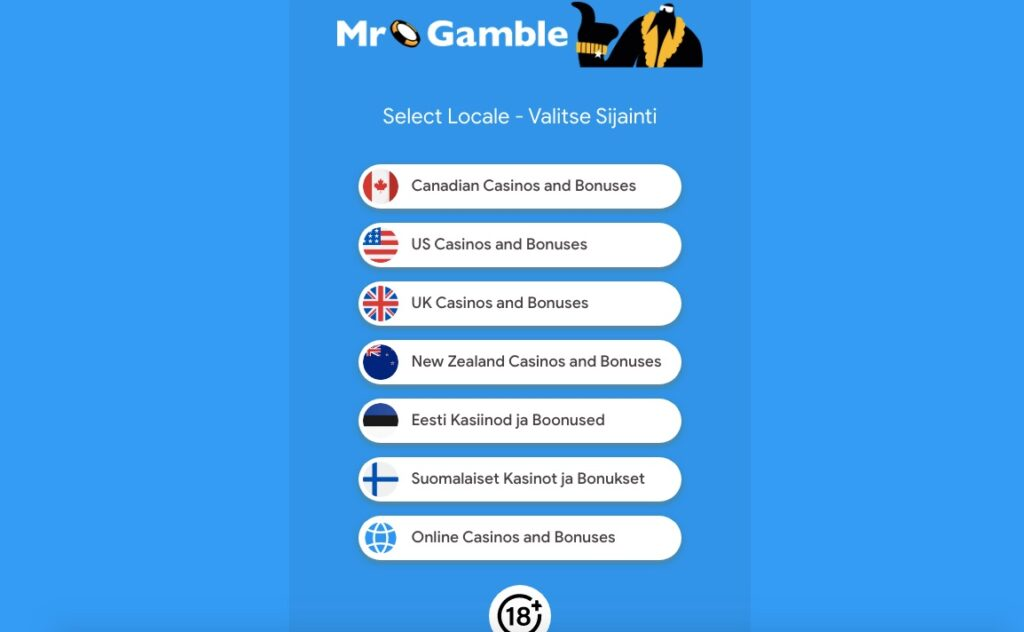 mr gamble website showing the seven different language options