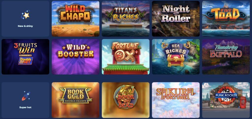 casoo casino game lobby showing 13 popular slot games