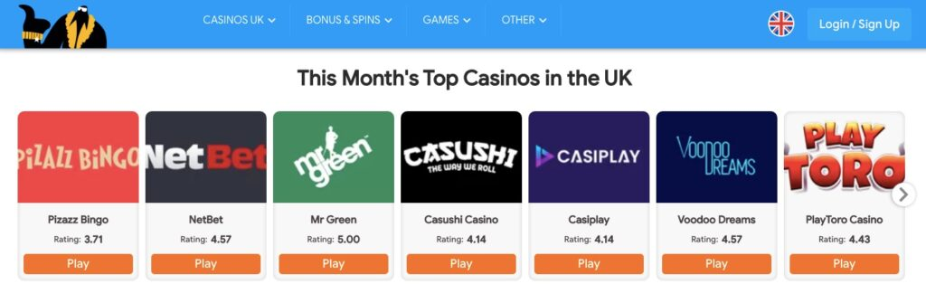 mr gamble website showing 7 different uk online casinos of the months