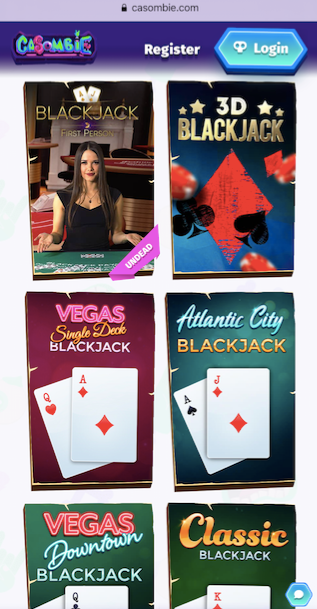 six popular black jack games available at casombie casino