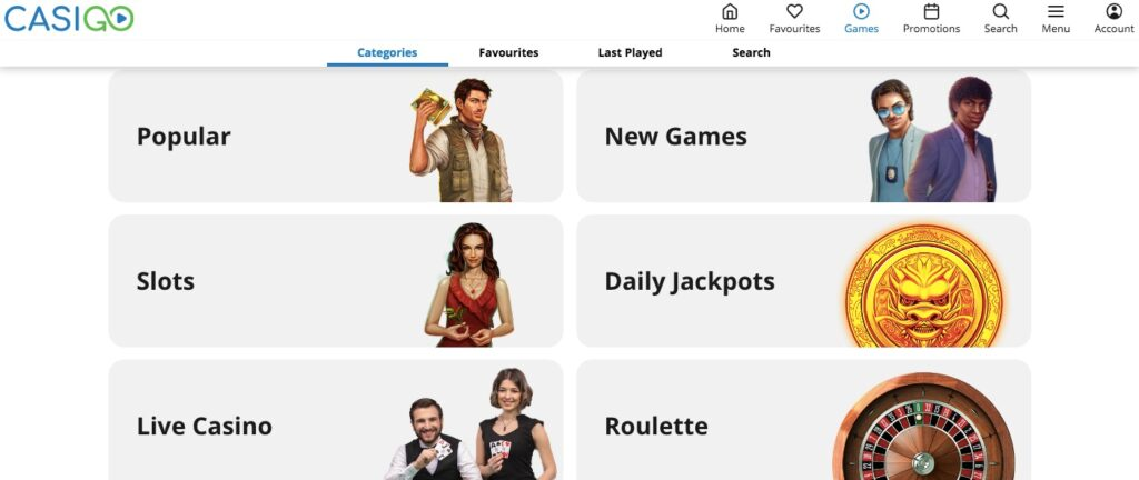 different game categories available at casigo casino