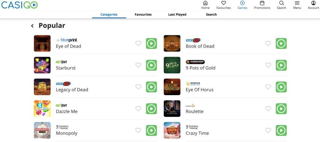 casigo casino game loby showing ten popular online casino games