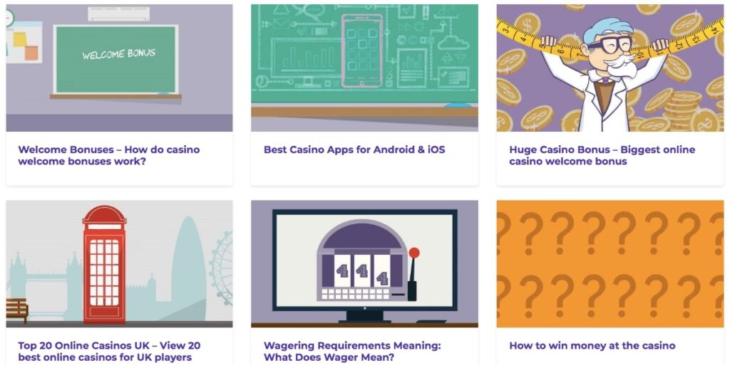 six different articles from the casino guide section