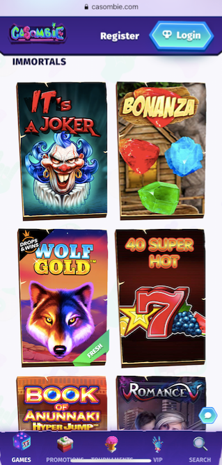 the casino game lobby showing six popular slot games