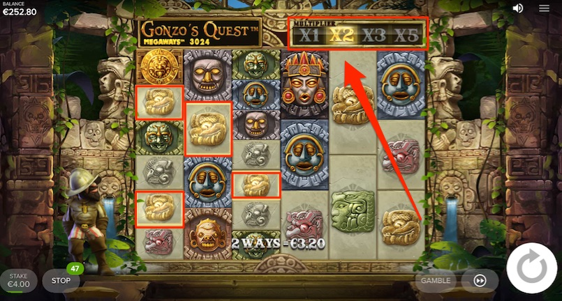 a normal win example on gonzos quest megaways