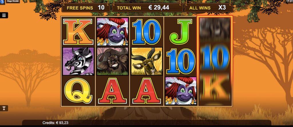 Example from the Mega Moolah free spins bonus game