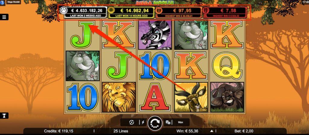 The 4 mega moolah slot jackpots