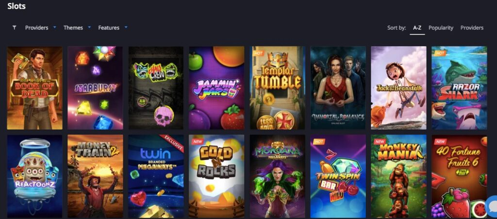 sixteen popular online casino slot thumbnails from the twin casino game lobby