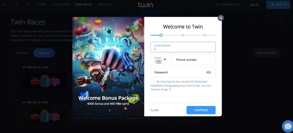 registration form at twin casino
