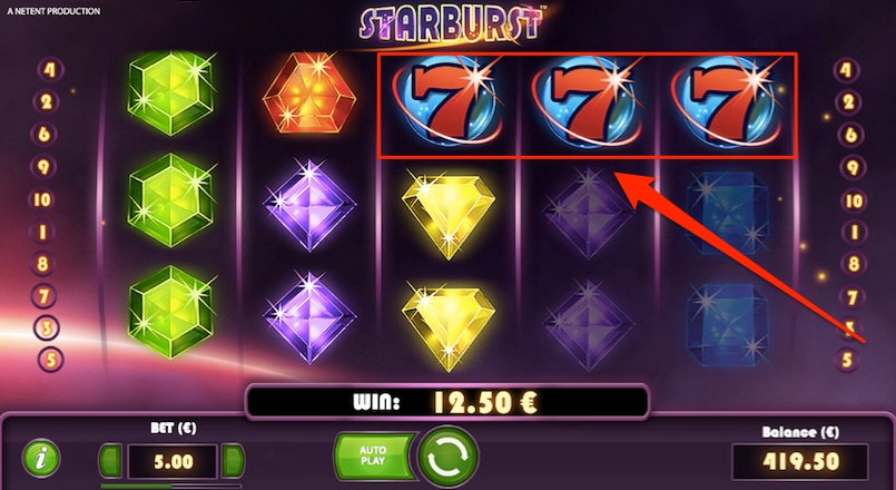 a starburst slot win example
