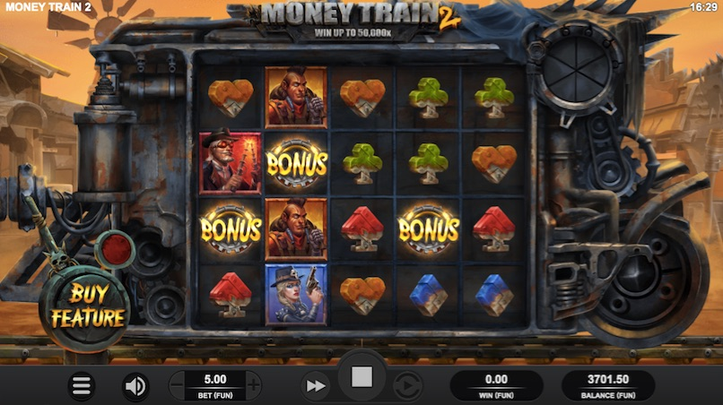 example of 3 bonus symbols on the board in the money train 2 slot