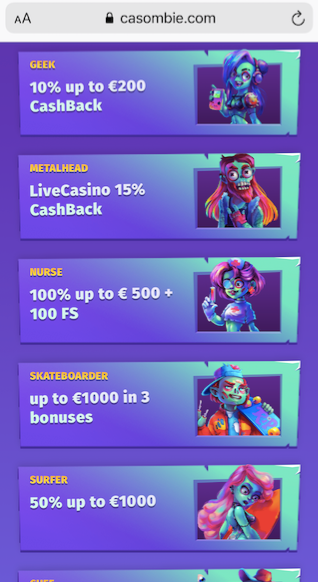 five of the seven available welcome offers at casombie casino
