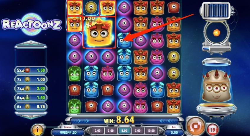 win example reactoonz slot