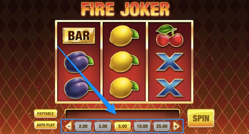 example of different bet sizes on the fire joker slot