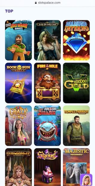 game lobby showing twelve popular slots at slotspalace