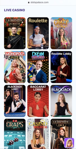 twelve different live casino games available at slotspalace