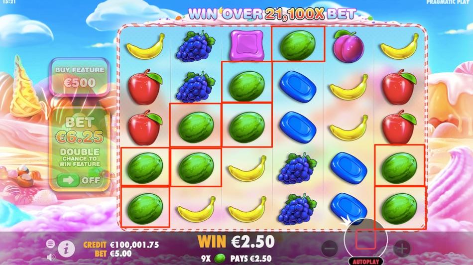 sweet bonanza slot win example