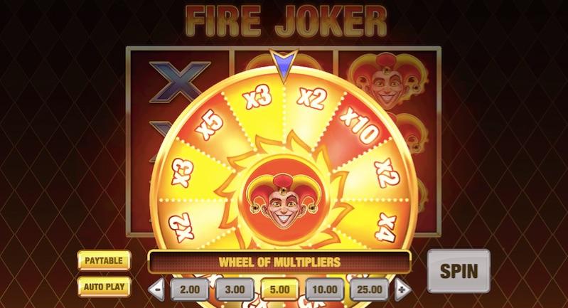 the wheel of multipliers on the fire joker slot