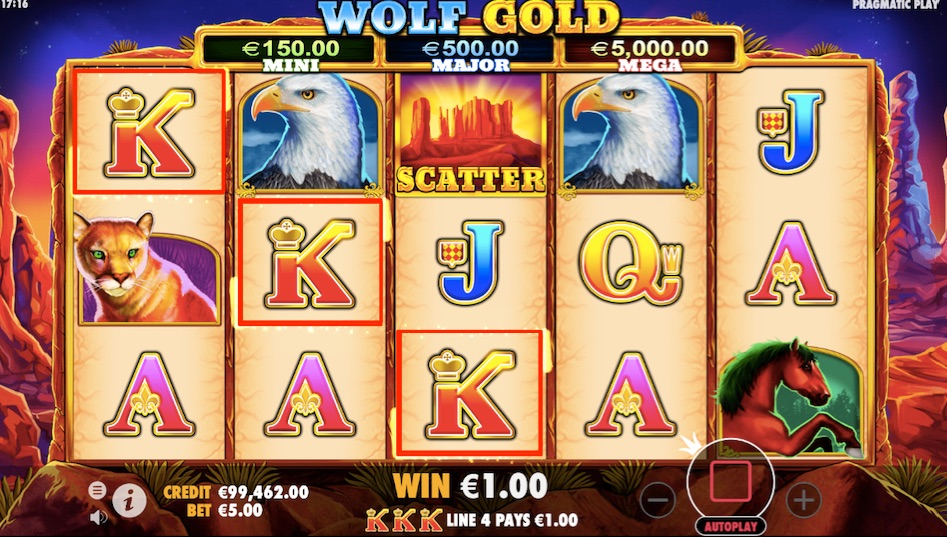 wolf gold slot win example