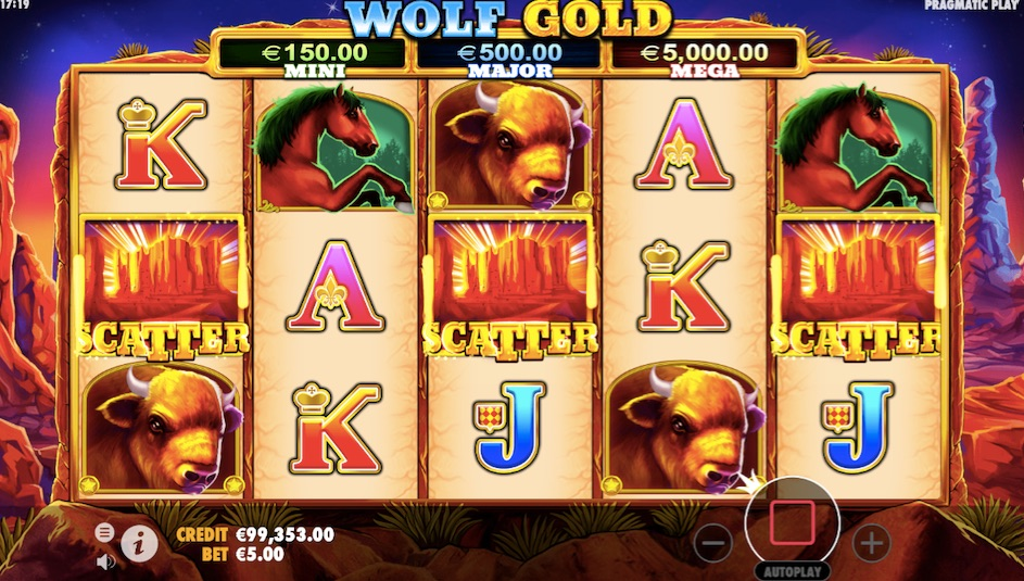 wolf gold slot three scatters