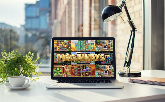 megaways casino slots visible on a laptop